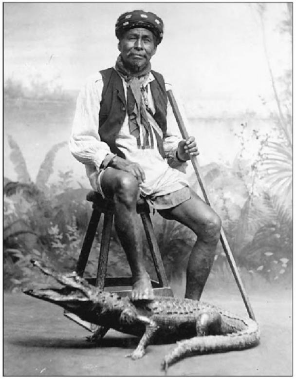 Seminole with Stuffed Alligator